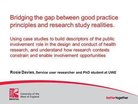 Bridging the gap between good practice principles and research study realities. Using case studies to build descriptors of the public involvement role.