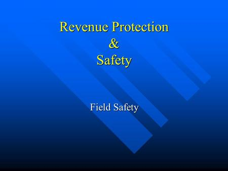 Revenue Protection & Safety Field Safety. Safety First Section 1.5 Personal Protective Equipment.