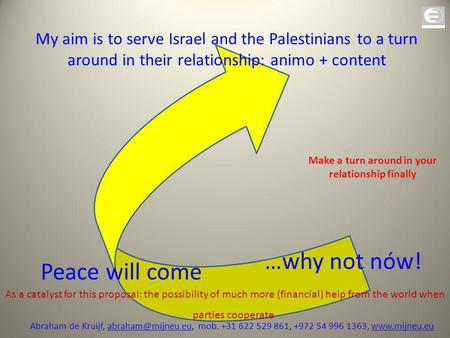 Peace will come …why not nów! My aim is to serve Israel and the Palestinians to a turn around in their relationship: animo + content As a catalyst for.