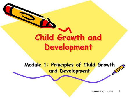 1 Child Growth and Development Module 1: Principles of Child Growth and Development Updated: 6/30/2011.