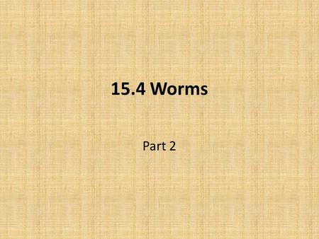 15.4 Worms Part 2.