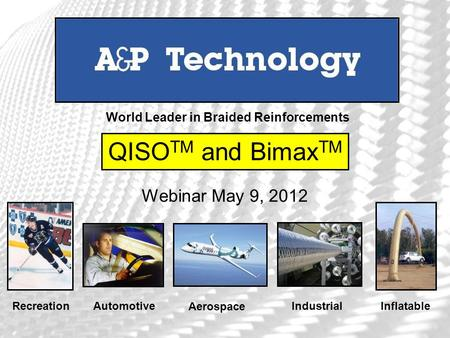 RecreationAutomotive Aerospace Industrial Inflatable World Leader in Braided Reinforcements QISO TM and Bimax TM Webinar May 9, 2012.