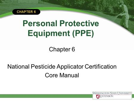 CHAPTER 6 Personal Protective Equipment (PPE) Chapter 6 National Pesticide Applicator Certification Core Manual.