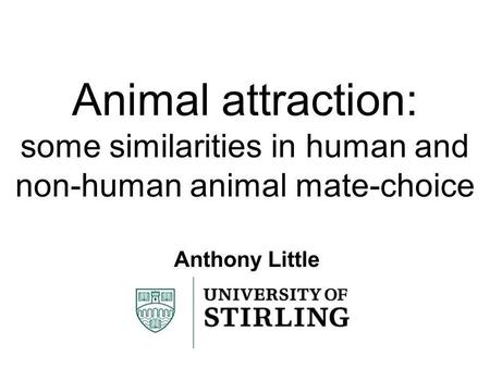 Animal attraction: some similarities in human and non-human animal mate-choice Anthony Little.