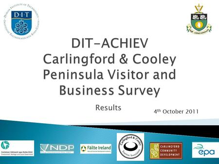 Results 4 th October 2011. Applying the Model in Carlingford and The Cooley Peninsula to assess how sustainably your destination is being managed over.