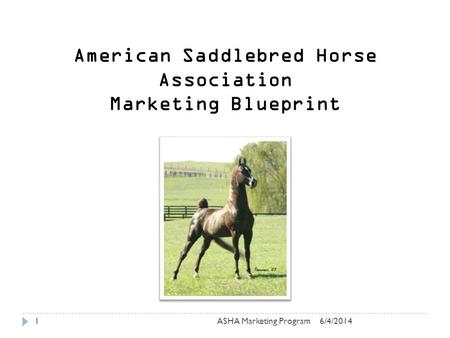 6/4/2014ASHA Marketing Program1 American Saddlebred Horse Association Marketing Blueprint.