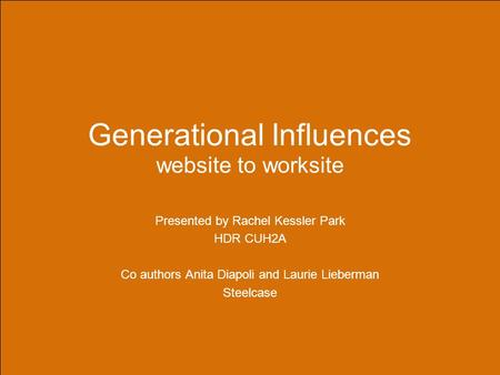 Generational Influences