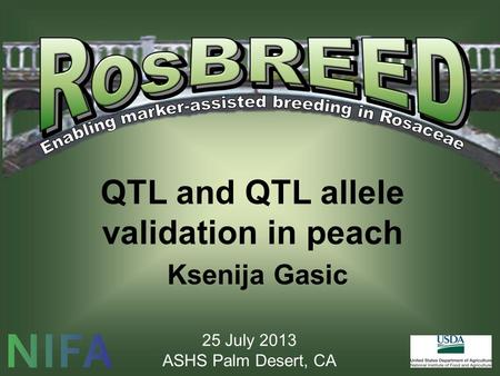 QTL and QTL allele validation in peach Ksenija Gasic 25 July 2013 ASHS Palm Desert, CA.