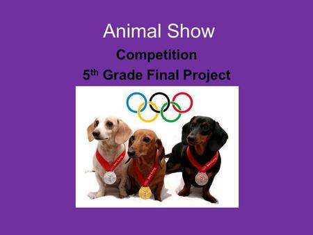 Animal Show Competition 5 th Grade Final Project.