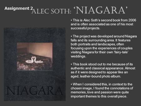 Assignment 2 Alec Soth: NIAGARA This is Alec Soths second book from 2006 and is often associated as one of his most successful projects. The project was.