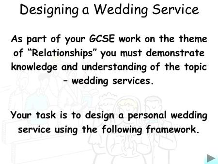 As part of your GCSE work on the theme of Relationships you must demonstrate knowledge and understanding of the topic – wedding services. Your task is.