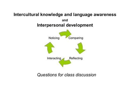 Intercultural knowledge and language awareness and Interpersonal development Questions for class discussion.