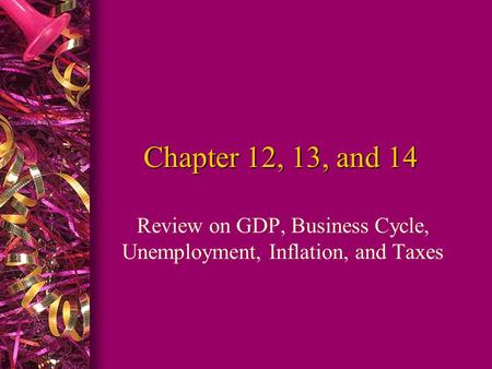 Chapter 12, 13, and 14 Review on GDP, Business Cycle, Unemployment, Inflation, and Taxes.