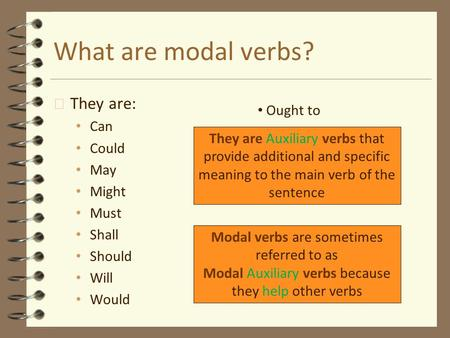 What are modal verbs? They are: Ought to Can Could May