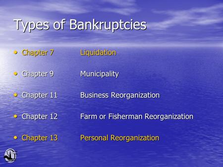 Types of Bankruptcies Chapter 7Liquidation Chapter 7Liquidation Chapter 9Municipality Chapter 9Municipality Chapter 11Business Reorganization Chapter 11Business.