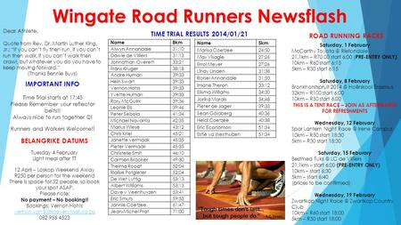 Wingate Road Runners Newsflash Dear Athlete, Quote from Rev. Dr. Martin Luther King, Jr.: If you cant fly then run, if you cant run then walk, if you cant.