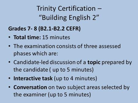"Trinity Certification – ""Building English 2"""