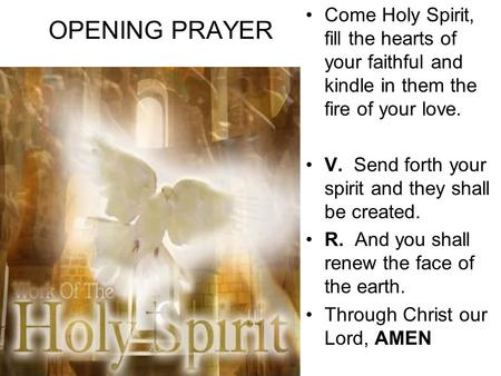 OPENING PRAYER Come Holy Spirit, fill the hearts of your faithful and kindle in them the fire of your love. V. Send forth your spirit and they shall be.