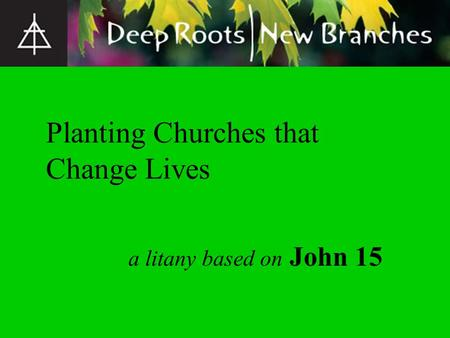 A litany based on John 15 Planting Churches that Change Lives.