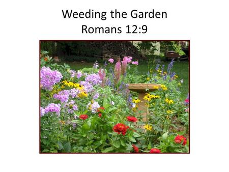 Weeding the Garden Romans 12:9. Family – Our Garden Every mother and father want to have a beautiful family with happy children who grow up to be.