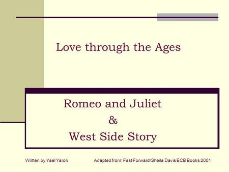 essay comparing romeo and juliet to west side story