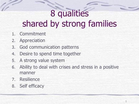 8 qualities shared by strong families