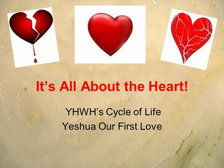 Its All About the Heart! YHWHs Cycle of Life Yeshua Our First Love.