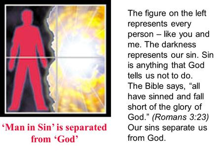 Man in Sin is separated from God The figure on the left represents every person – like you and me. The darkness represents our sin. Sin is anything that.