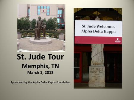 St. Jude Tour Memphis, TN March 1, 2013 Sponsored by the Alpha Delta Kappa Foundation.