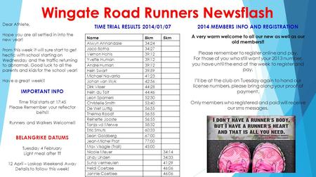 Wingate Road Runners Newsflash Dear Athlete, Hope you are all settled in into the new year! From this week it will sure start to get hectic with school.