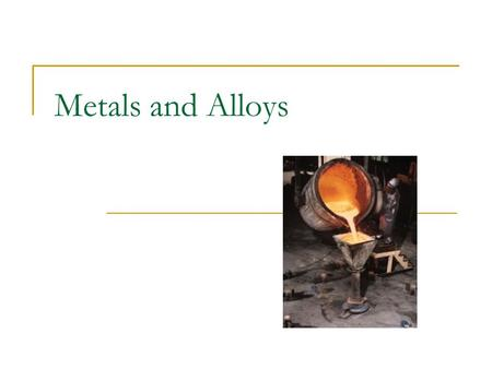 Metals and Alloys. Alloys Two definitions Combination of two or more elements Combination of two or more metallic elements Metallurgical Commercial.