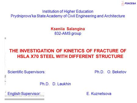 Institution of Higher Education Prydniprovs'ka State Academy of Civil Engineering and Architecture Kseniia Salangina 832-AMS group THE INVESTIGATION OF.