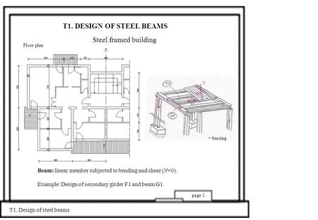 T1. DESIGN OF STEEL BEAMS Steel framed building T1. Design of steel beams page 1. Beam: linear member subjected to bending and shear (N=0). Example: Design.