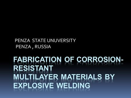 PENZA STATE UNUVERSITY PENZA, RUSSIA. Anodic and cathodic polarization curves 2.