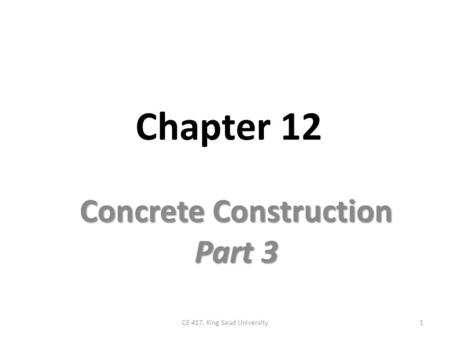 Concrete Construction Part 3