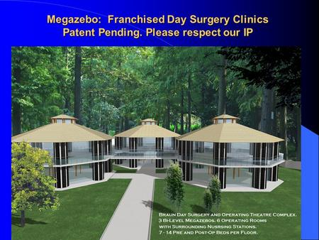 Megazebo: Franchised Day Surgery Clinics Patent Pending. Please respect our IP.