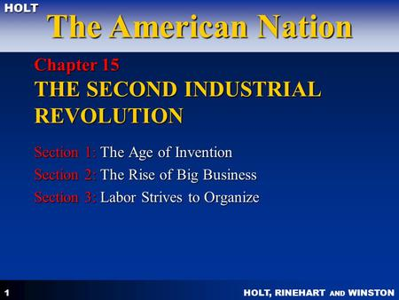 HOLT, RINEHART AND WINSTON The American Nation HOLT 1 Chapter 15 THE SECOND INDUSTRIAL REVOLUTION Section 1: The Age of Invention Section 2: The Rise of.