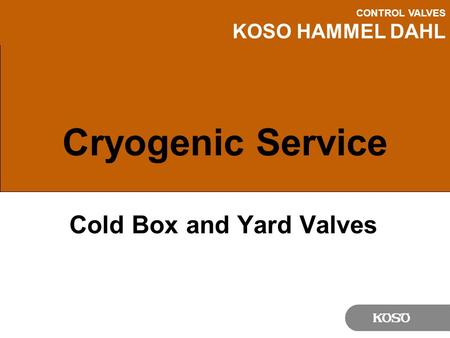 CONTROL VALVES KOSO HAMMEL DAHL Cryogenic Service Cold Box and Yard Valves.