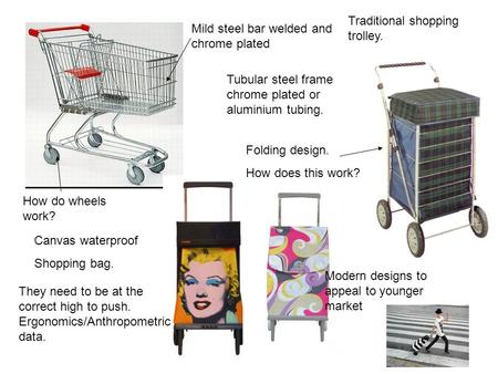 Mild steel bar welded and chrome plated Tubular steel frame chrome plated or aluminium tubing. How do wheels work? Traditional shopping trolley. Modern.