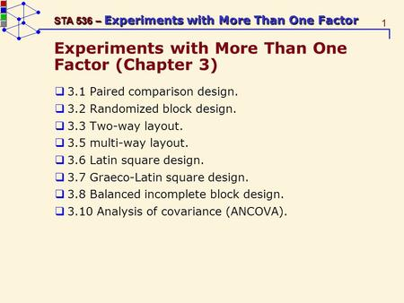 1 STA 536 – Experiments with More Than One Factor Experiments with More Than One Factor (Chapter 3) 3.1 Paired comparison design. 3.2 Randomized block.