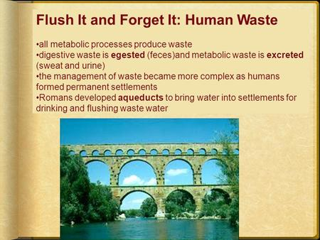 Flush It and Forget It: Human Waste all metabolic processes produce waste digestive waste is egested (feces)and metabolic waste is excreted (sweat and.
