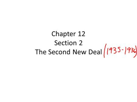 Chapter 12 Section 2 The Second New Deal. Critics of the New Deal By 1935, the New Deal was facing criticism from the right and the left. The right opposed.