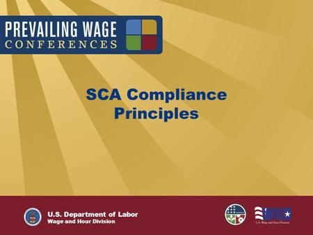 U.S. Department of Labor Wage and Hour Division SCA Compliance Principles.