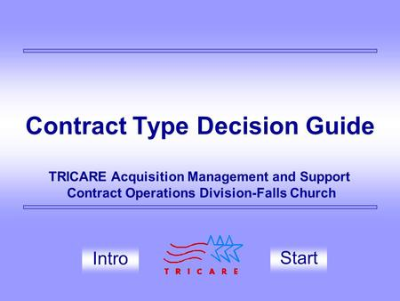 Contract Type Decision Guide Start TRICARE Acquisition Management and Support Contract Operations Division-Falls Church Intro.