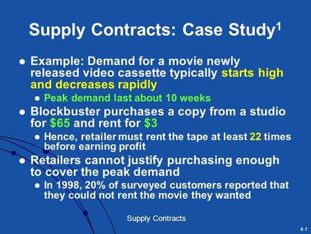 Supply Contracts: Case Study1