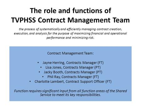 The role and functions of TVPHSS Contract Management Team Contract Management Team: Jayne Herring, Contracts Manager (FT) Lisa Jones, Contracts Manager.