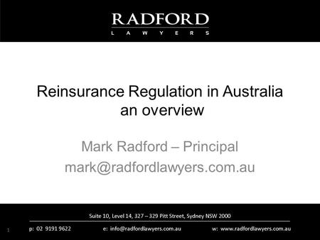 Reinsurance Regulation in Australia an overview