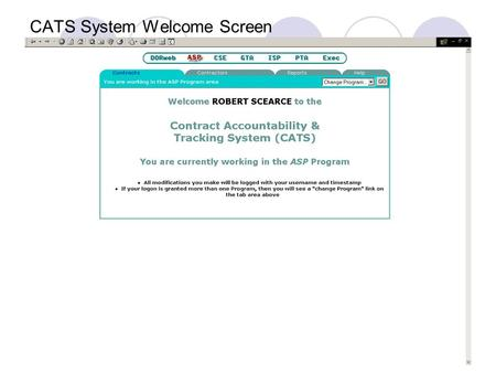 CATS System Welcome Screen. Program Access and Authority Three levels of access: Super User: Can update and delete assigned program records (Contract.