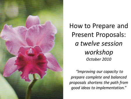 How to Prepare and Present Proposals: a twelve session workshop October 2010 Improving our capacity to prepare complete and balanced proposals shortens.