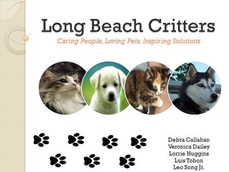 Long Beach Critters Caring People, Loving Pets, Inspiring Solutions Debra Callahan Veronica Dailey Lorrie Huggins Luis Tobon Leo Song Jr.
